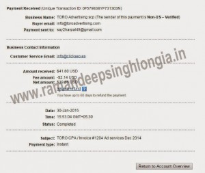 Toro Advertising Network Payment Proof paypal (2)