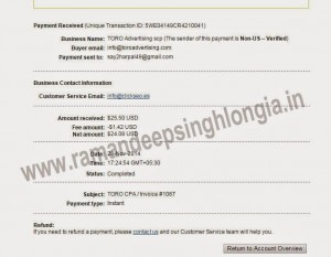 Toro Advertising Network Payment Proof paypal